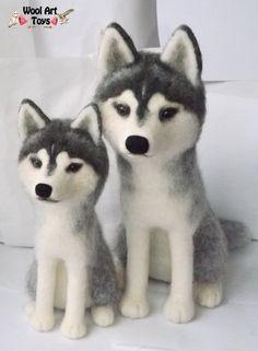 Needle felted Siberian Huskies by WoolArtToys.deviantart.com on @DeviantArt