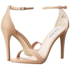 Steve Madden Stecy (Natural) High Heels ($79) ❤ liked on Polyvore featuring shoes, sandals, leather sandals, strap sandals, ankle strap sandals, platform sandals and steve-madden shoes