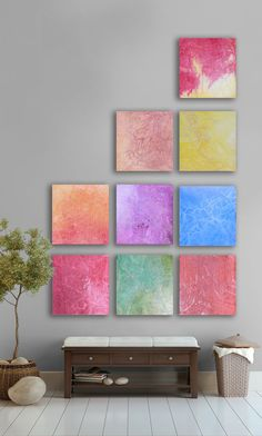 etsy abstract art. Watercolor art.  CUSTOM abstract Painting, -9 square Modern Abstract Wall Art, Pastel, Bold ,Purple, Green, Orange, Yellow, Red, Pink    etsy artwork  http://pinterest.com/twistofunique/etsy-artwork-my-abstract-watercolor-artwork/