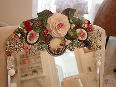 fabulous mirror: china floral arrangements, bits and pieces of broken jewelry. Notice it's just a topper, not a full frame... which means I can make LOTS! (shabbygirlmosaics)