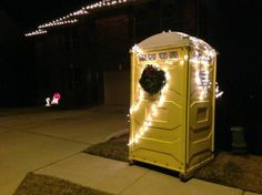 The Christmas port-o-potty Telephone Booth, Portable Toilet, Father Of The Bride, Toilets, I Laughed, Showers, Repurposed, Eve, Wedding Planning