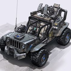 Sketches and a final done for the jeep in Defiance. A lot of direction was given on the look and functionality. It was usable by three players: a driver, a gunner in the back and a mortar launcher in the passenger seat. One of the goals was to have interesting animations for the players as they mounted their spot.
