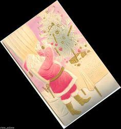 C595 SANTA HANGS BULB ON FEATHER TREE EMB 'GLOW' HEAVY GOLD 1910 POSTCARD #Christmas