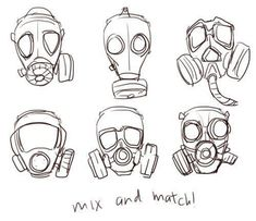How to draw a gas mask - drawing reference Art Reference Poses, Design Reference, Hand Reference, Reference Website, Face Drawing Reference, Anatomy Reference, Drawing Sketches, Art Drawings, Drawing Tips