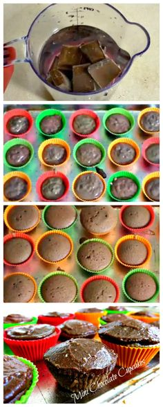 Mini #Chocolate #Cupcakes - easy to make! #EasyRecipes