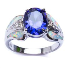 OH MY! TWIN FIRES - OPAL+TANZANITE RING:  Beautiful Combination of TANZANITE, CZ, & WHITE FIRE OPAL Engagement 925 Sterling Silver Ring, Sizes 6-9