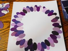 Layering paint chip art to make an abstract flower