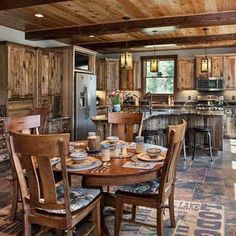 Family dinning and kitchen at the cabin