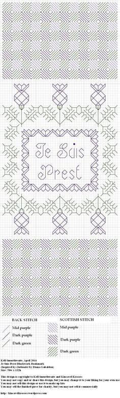 Design: Je Suis Prest Blackwork Bookmark (Inspired by Outlander by Diana Gabaldon) Size: 50w x 132h Designer: Kell Smurthwaite, Kincavel Krosses Permissions: This design is copyright to Kell Smurth...