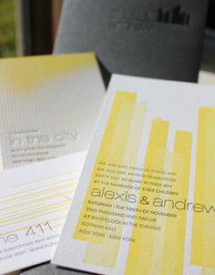 City Lights Letterpress Invitation by Elum from ClarkStationery.com