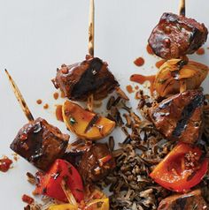 Tonight, dinner is on a stick! Serve Hoisin-Ginger Filet Mignon Skewers on a bed of rice or wrapped in lettuce leaves.