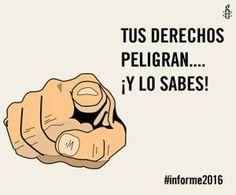 En relación a las amenazas a los derechos humanos en España, sobre la libertad de expresión, asociación y reunión, es especialmente preocupante el uso excesivo de la fuerza por parte de la policía española y el refuerzo de una legislación represiva que no muestra sino un interés de socavar la libertad de expresión [...] #Informe2016