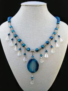 Items similar to Blue Cascading Necklace, drop bead necklace, Boho Necklace on Etsy - image 0 Source by - Bead Jewellery, Pearl Jewelry, Wire Jewelry, Jewelery, Jewelry Necklaces, Beaded Bracelets, Beaded Jewelry Patterns, Handmade Jewelry Designs, Diy Collier