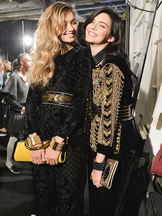Star Tracks: Wednesday, October 21, 2015 | CANDID CAMERA | While backstage at the Balmain x H&M Collection show, models Gigi Hadid and Kendall Jenner share a sweet moment as they pose for photos.