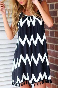 Contrast Wave Pattern Backless Cami Strap Mini Dress With Tassel Hem -YOINS