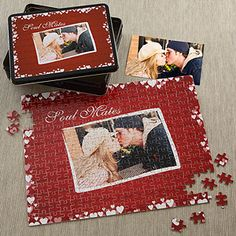 LOVE this Valentine's Day Gift idea - it's a personalized puzzle with your photo and a matching personalized tin to store it in! This is a great gift idea for Him or Her and it's only $29.95 at PersonalizationMall!
