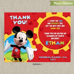 free printable mickey mouse thank you cards | Product Code: THANK002