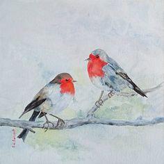 Rouge gorge - peinture acrylique