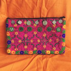 Large holdall clutch hand embroidered floral pink by SaheliDesigns