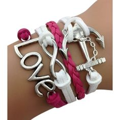 Fuchsia Anchor and Love Arm Party Bracelet