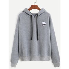 Grey Alien Print Hooded Sweatshirt (410 ARS) ❤ liked on Polyvore featuring tops, hoodies, gray pullover hoodie, long sleeve tops, pullover hoodies, grey hooded sweatshirt and hoodie pullover