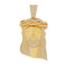 Standard Jesus Piece (Fully Iced) Gold Jesus Piece, Bling, Ice, Charmed, Diamond, Jewelry, Jewel, Jewlery, Jewerly