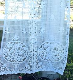 2+White+French+Country+Lace+Curtain+Panels+by+ContemporaryVintage,+$25.00