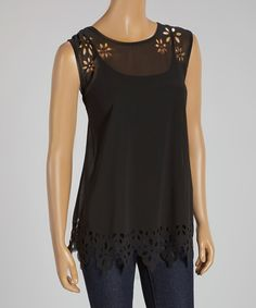 Look what I found on #zulily! I.C.U. collection Black Floral Cutout Tank - Women by I.C.U. collection #zulilyfinds