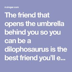 The friend that opens the umbrella behind you so you can be a dilophosaurus is the best friend you'll ever have. - Imgur