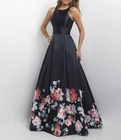 Charming Black Print Prom Dress,Back Hole Evening Dress,Sleeveless Party Dress
