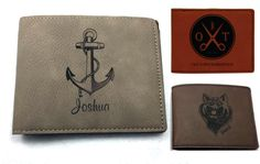 Personalized Mens Genuine Leather Bifold Wallet - You choose design, and color- BRAND NEW