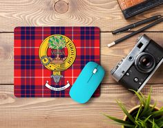 Rubber mousepad with Hamilton clan crest and tartan - only from ScotClans