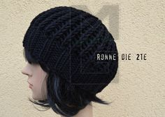 Strickmuetze patent schurwolle black stricken