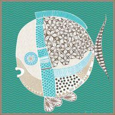 fish drawing digitally printed on silk. Ocean Drawing, Fish Drawings, Fun Diy Crafts, Little Fish, Sea Fish, Fish Art, Mixed Media Collage, Mosaic Art, Illustrations Posters