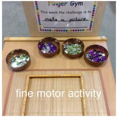 Finger gym to develop fine motor skills. This week creating pictures using mosaic tiles