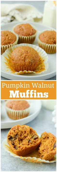Pumpkin Walnut Muffins - moist pumpkin muffins with walnuts and a crunchy topping. The perfect fall breakfast! Fall Breakfast, Sweet Breakfast, Breakfast Recipes, Breakfast Ideas, Muffin Recipes, Cupcake Recipes, Dessert Recipes, Keto Desserts, Recipes Dinner