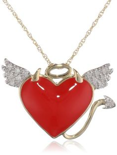 """10k Yellow Gold Red Enamel with Diamonds Naughty and Nice Pendant Necklace (0.05 cttw, I-J Color, I2-I3 Clarity), 18"""" for sale"""