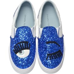 スニーカー CHIARA FERRAGNI GLITTERED LEATHER SLIP ON WITH RUBBER SOLE... ❤ liked on Polyvore featuring shoes, leather footwear, chiara ferragni, slip on shoes, rubber sole shoes and slipon shoes