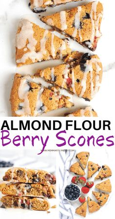 Almond Flour scones recipe with blueberries and strawberries. These Keto almond flour scones are low carb and easy to make and totally gluten free. Healthy Homemade Snacks, Healthy Snacks List, Healthy Dessert Recipes, Clean Eating Recipes, Low Carb Recipes, Snack Recipes, Paleo Recipes, Breakfast Scones, Clean Eating Breakfast