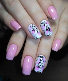 35 Best Spring Nail Art Designs You Must Try – Nails Summer – Fall – Spring – Winter Cute Pink Nails, Pink Nail Art, Acrylic Nail Art, Cool Nail Art, Edgy Nail Art, Purple Nails, Pink Nail Designs, Short Nail Designs, Nail Designs Spring