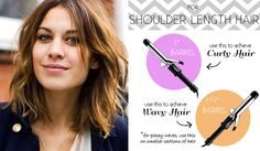 I've found that the 1 1/4″ inch curling iron is perfect for messy waves like the ones Alexa Chung is always sporting. Just make sure not to curl the ends so they stay straight like hers above. If you want more sleek curls, try the smaller 1″ barrel.