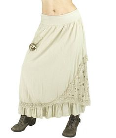 Long Boho Raw Skirt with Lace Hippie Chic Long Skirt - Polyvore