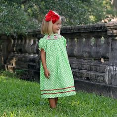 Smocked Ornament Dress Lime Green Polka Dots - by Classic Whimsy