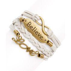 Simply Reese Gray & Goldtone 'Believe' Braided Bracelet ($6.99) ❤ liked on Polyvore featuring jewelry, bracelets, gold tone jewelry, imitation jewelry, grey jewelry, imitation jewellery and braided bracelet