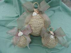 Set of three coastal Christmas ornaments, nautical ornament, shell ornament. beach cottage decor, nautical decor