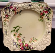Vintage CROWN DUCAL FLORENTINE ~ Rosalie ~ Square Sandwitch Plate ~ Beautiful! Old Plates, China Plates, Vintage Plates, Cake Plates, Vintage China, Vintage Dinnerware, China Cups And Saucers, Tea Service, Chocolate Pots