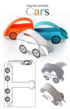 Glue-Lee printable cars art ideas crafts for kids, preschool crafts, crafts. Paper Crafts For Kids, Diy Paper, Diy For Kids, Fun Crafts, Printable Paper Crafts, Paper Folding For Kids, Simple Crafts, Craft Activities, Preschool Crafts