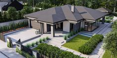 Modern Bungalow Exterior, Modern House Facades, Dream House Exterior, Modern Bungalow House Design, Round House Plans, Bungalow House Plans, Dream House Plans, Model House Plan, House Outside Design