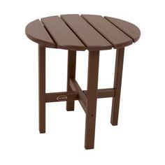 Polywood Round Patio Side Table - Dark Brown, Dk Brown