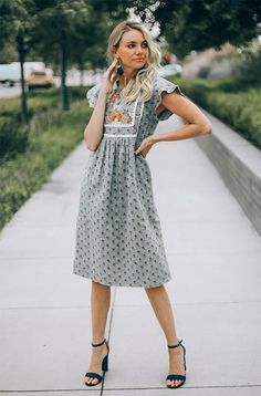 Josee – Grey Embroidered Dress – DM Exclusive – Restocked - All About Church Dresses, Modest Dresses, Tight Dresses, Modest Outfits, Casual Dresses, Short Sleeve Dresses, Fall Dresses, Modest Clothing, Muslim Fashion